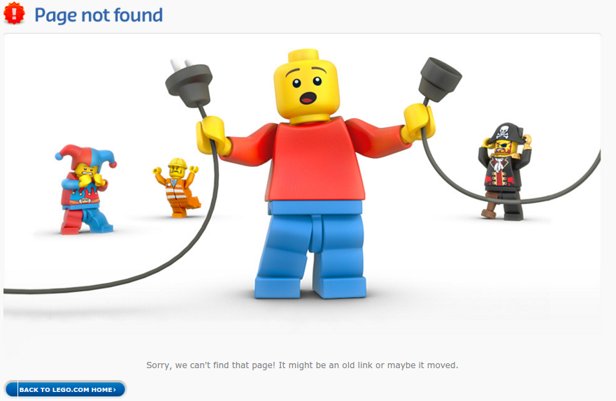 404 page for Lego Website